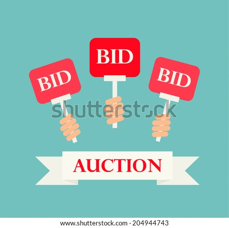 Hands holding auction paddles, vector illustration of auction or bidding - stock vector