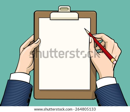 Hands holding clipboard with empty paper sheet, vector illustration in vintage style - stock vector