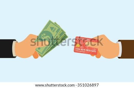 Hands holding credit card and money bills. Flat style - stock vector