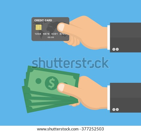 Hands holding credit card and money bills. Vector illustration in Flat style  - stock vector