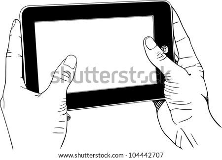 Hands holding digital tablet pc - stock vector