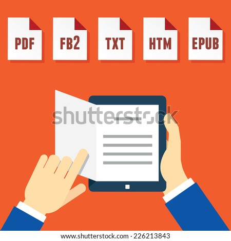 Hands Holding Electronic Book (e-book) Reader with Different Formats. Subscription as business model - vector illustration - stock vector