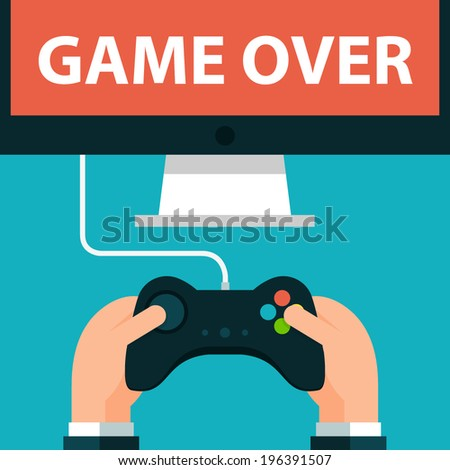 Hands holding joystick and monitor screen Game over   - stock vector