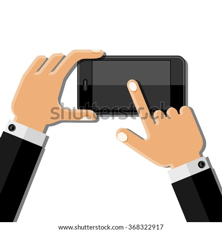 Hands holding mobile phone. Flat design. Vector illustration.