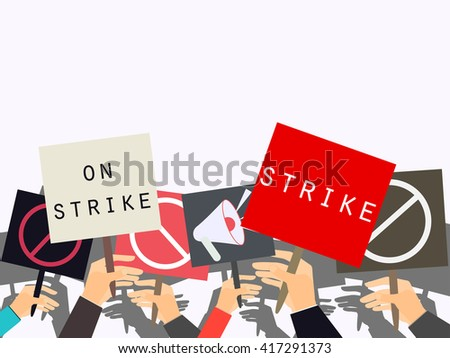Hands holding protest signs. Crowd of protesters. Political crisis poster. Hand holding a poster. Vector illustration. - stock vector