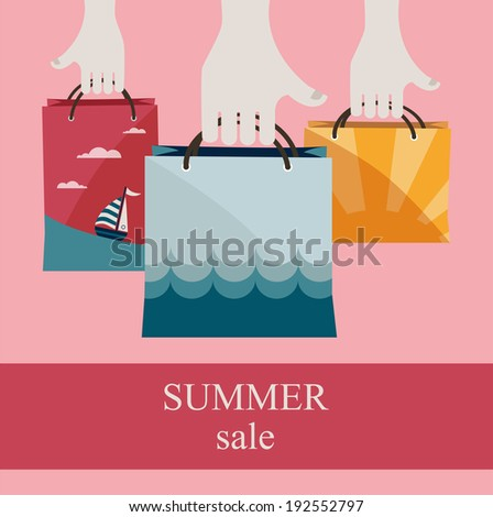 hands holding shopping bags to promote sales. summer big sale  - stock vector