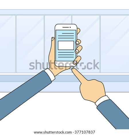 Hands Holding Smart Cell Phone Touch Screen Modern Technology Vector Illustration - stock vector