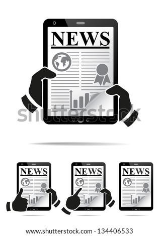 Hands holding tablet pc with news. Vector illustration - stock vector