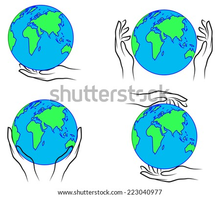 Hands holding the Earth  - stock vector