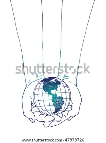 Hands Holding the World - stock vector