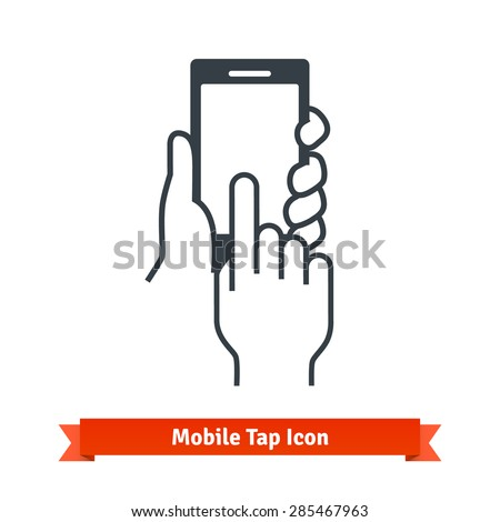 Hands holding, touching, tapping or scrolling black phone blank screen. Vector icon. - stock vector