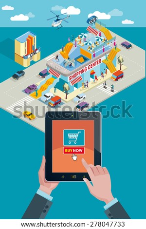Hands holding touchscreen smart phone, in the screen a mobile applications with Buying Icon. In the background a Shopping Center in isometric view. - stock vector
