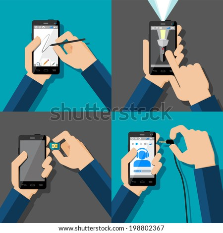 Hands holding touchscreen smartphones. Drawing, flash light, music, sim card. Vector illustration. - stock vector