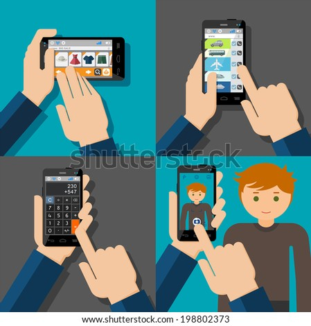 Hands holding touchscreen smartphones with applications on screens. E-commerce, booking, calculator, camera. Vector illustration. - stock vector