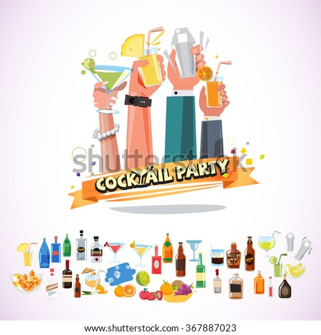 Hands holding various glasses of cocktail with ribbon. cocktail party concept with icon set - vector illustration - stock vector