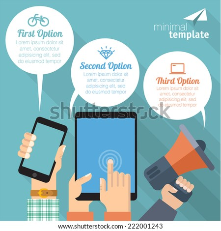 Hands holing gadgets with blank speech bubble for text.  - stock vector