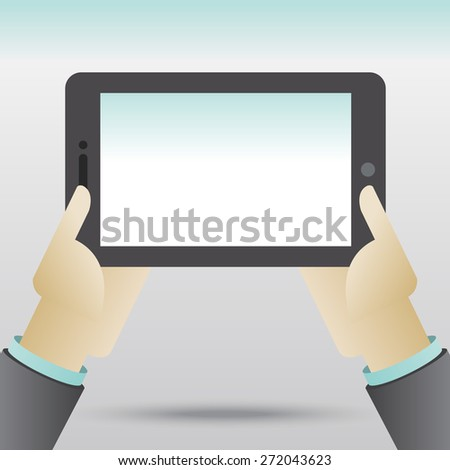Hands holing tablet computer with blank screen - stock vector