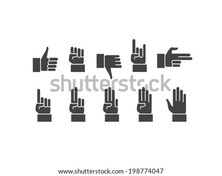 Hands icons. - stock vector