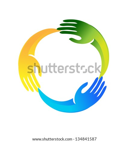 Hands in a circle shape icon vector - stock vector