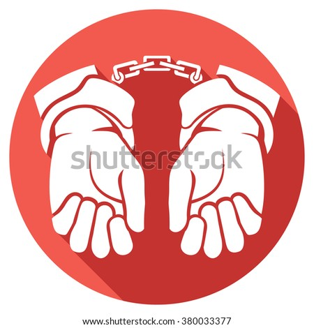 hands in handcuffs flat icon (man hands with handcuffs icon) - stock vector