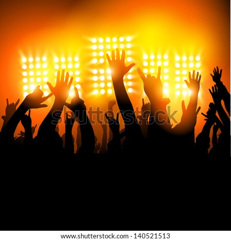 Hands in The Air - fans at a concert. Vector illustration - stock vector