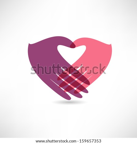 Hands in the form of heart - stock vector