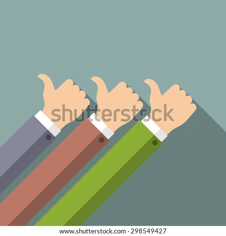 Hands in thumbs up sign. Positive feedback. Vector illustration. - stock vector
