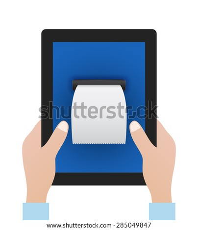 hands keep tablet pc with blank bill - business concept - stock vector