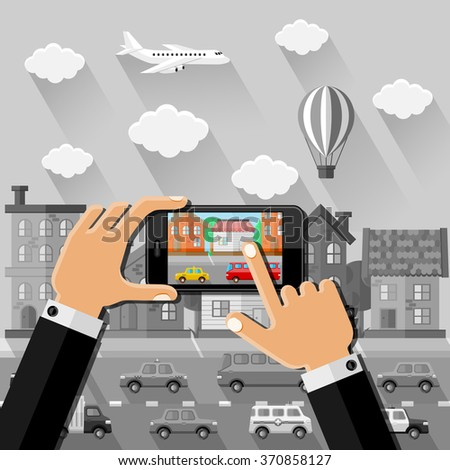 Hands makes a picture in the street with smartphone. Vector illustration. - stock vector