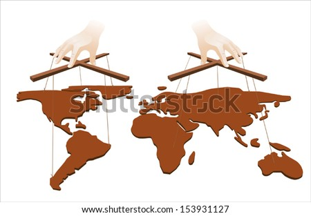 Hands manipulate the world on white background - stock vector