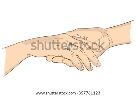 Hands of a woman with a ring on the palm of man close up - stock vector