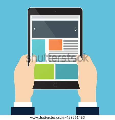 Hands of businessman is holding vertical tablet and open website. Vector illustration flat style. - stock vector