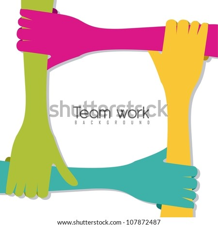 hands of different colors, cultural and ethnic diversity, team work. vector illustration - stock vector