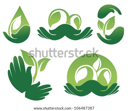 hands of nature, vector collection of ecological and organic symbols - stock vector