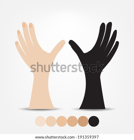 hands on a gray background - stock vector