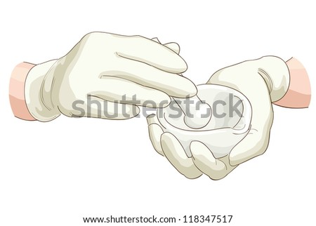 Hands pharmacist with a pestle and mortar. Vector illustration. - stock vector
