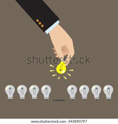 Hands picking light bulb. idea and bussiness concept - stock vector