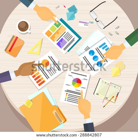 Hands Point Finger Business Graph Charts Diagram, Businessmen Finance Document Desk Flat Vector Illustration - stock vector