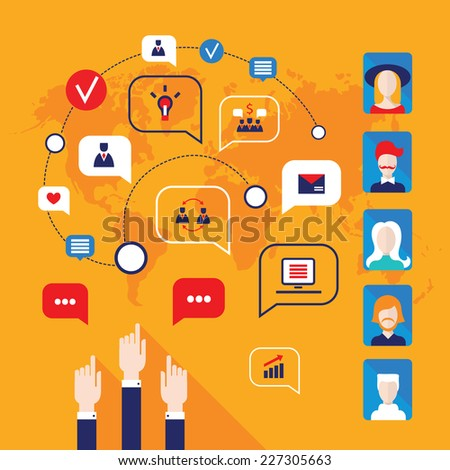 Hands pointing on people avatars and business icons for web on the world map background. Vector illustration - stock vector