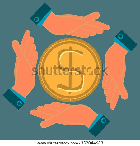 Hands protect a gold dollar coin. Investments, protection of savings. Insurance cash deposits. - stock vector