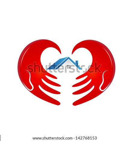 Hands protecting a house illustration vector - stock vector