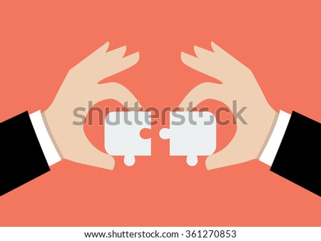 Hands pushing two jigsaw pieces together. Business teamwork concept - stock vector