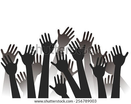 hands raised background - stock vector