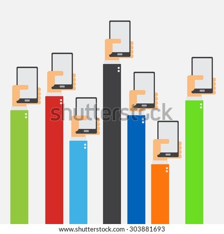 Hands raised holding smartphone flat design on white background - stock vector