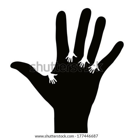 Hands reaching each other - stock vector