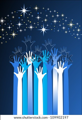 hands reaching for the stars - stock vector