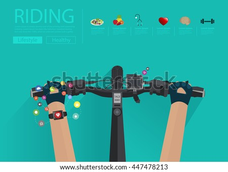 Hands riding a bike with wearing a smartwatch heart rate monitor. Smart watch applications icons flat design ideas concepts living healthy life, Vector illustration layout template - stock vector