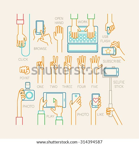 Hands set - line style. Vector illustration. - stock vector