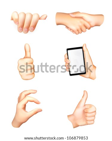 Hands set, vector - stock vector