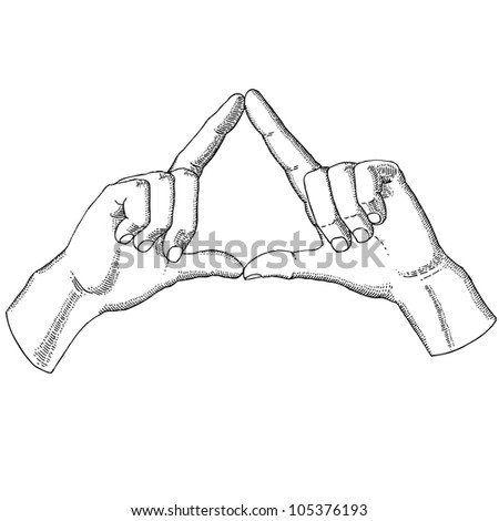 Hands show a triangle - stock vector